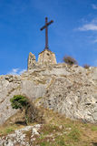 Cross at top of the mountain Royalty Free Stock Images