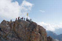 The cross on top of the Zugspitze Royalty Free Stock Photography