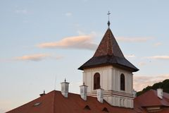 Cross tower of orthodox Brancoveanu Monastery and Church Royalty Free Stock Image