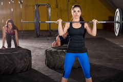 Cross-training at a gym Royalty Free Stock Photo
