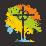 Cross and tree Royalty Free Stock Photography