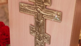 Cross on tribune. Decorative crucifix on faculty Orthodox priest stock video footage