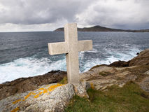 Cross tribute to sailors lost at sea in Galicia. Stock Photo