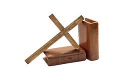 Cross And Two Bibles With Wooden Covers Royalty Free Stock Photography
