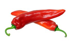 Cross two sweet peppers Royalty Free Stock Image