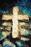 Cross under the water. Christian holy symbol Stock Image