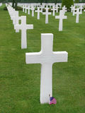 Cross of an unknown soldier. The American Cemetery in Colleville-sur-Mer, Normandy, France, that honors American soldiers who died in Europe during World War II Royalty Free Stock Image