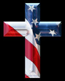 Cross with USA flag Royalty Free Stock Images