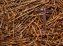Cross and Used Nails Royalty Free Stock Images