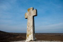 Cross in valley Stock Image