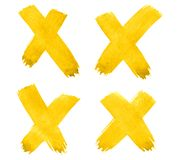 4 Cross, X - Vibrant Yellow watercolor abstract background, stain, splash paint, stain, divorce. Vintage paintings for design. And decoration. With copy space vector illustration