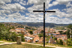 Cross. With a view on Mariana, Brazil Stock Images