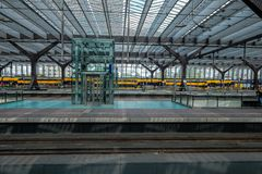 Cross view over all platforms in Rotterdam Central STation. royalty free stock images