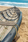 Cross view of skeleton of a fishing boat parked alone in seashore, Kailashgiri, Visakhapatnam, Andhra Pradesh, March 05 2017 Royalty Free Stock Photo