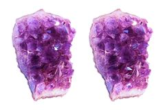 Cross-view stereo photography of Amethyst druse on white background. royalty free stock images