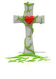Cross with vines holding heart Royalty Free Stock Photography