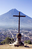 Cross and Volcano Stock Photography