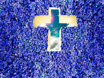 Cross wall and clover blue background Royalty Free Stock Image