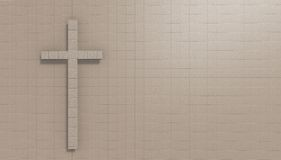 Cross on the wall. Made in 3d software Stock Photo