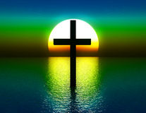 The Cross In Water At Sunrise 4. A conceptual image of the religious symbolic cross, in the water with a sunset or sunrise background Stock Images