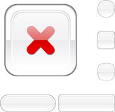 Cross white button. Royalty Free Stock Images