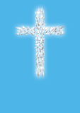 Cross of white flying doves Royalty Free Stock Photo