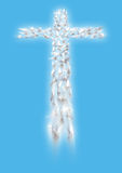 Cross of white flying doves in perspective Royalty Free Stock Images