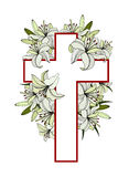 Cross with white lilies Royalty Free Stock Photography