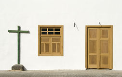 Cross, window and door, Lanzarote Stock Photos