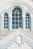 Cross and windows. Three windows and cross of Orthodox church Stock Photos