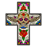 Cross with winged sugar skull isolated on white background.  Royalty Free Stock Photo