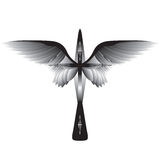 Cross with wings. Black cross, tattoo royalty free illustration