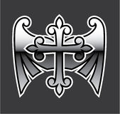 Cross with wings gunmetal chrome Vector Icon Royalty Free Stock Photography