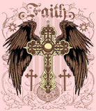 Faith. Cross with wings , religious objects vector format Royalty Free Stock Photography