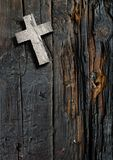 Cross on the wood. Made in 3d software Royalty Free Stock Photos