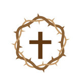 Cross with Wooden Crown Stock Images