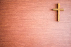 Cross on wooden texture Royalty Free Stock Image