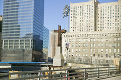Cross at World Trade Towers Memorial Site for September 11, 2001, New York City, NY Royalty Free Stock Photos