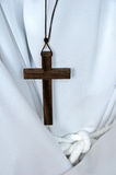 Cross worn by an alter boy. Wooden cross worn by an alter boy Royalty Free Stock Image