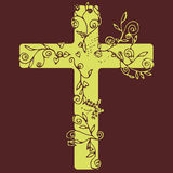 Cross in yellow color design on dark purple background with flora line art for decorate as Christianity. Stock Photo