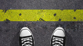 Cross the yellow line ? royalty free illustration