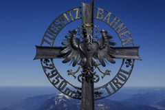 Cross at the Zugspitze. Cross at the Tirolean Zugspitzbahnen, Tirol, Zugspitze, 2962 m, the highest mountain in Germany, Bavaria, Tyrol, Germany, Europe Royalty Free Stock Photos