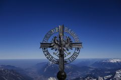 Cross at the Zugspitze. Cross at the Tirolean Zugspitzbahnen, Tirol, Zugspitze, 2962 m, the highest mountain in Germany, Bavaria, Tyrol, Germany, Europe Royalty Free Stock Photo