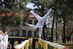 Doing gymnastics stock photos