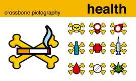 Crossbonepictography van de gezondheid Stock Afbeeldingen