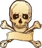Crossbones del cráneo e ilustración de la bandera stock de ilustración