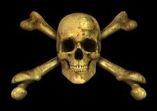 Crossbones del cranio di Grunge Fotografie Stock Libere da Diritti