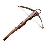 Crossbow. Medieval wooden crossbow, middle ages weapon isolated Stock Photos