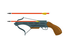 Crossbow with arrow. Arbalest vector illustration isolated on white background Stock Image