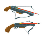 Crossbow with arrow. Weapon and archery. Vector flat icon. Illustration  on white background. Thin line style Stock Photos